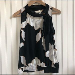 Anthro/Deletta Abstract Floral Blouse w Neck Tie